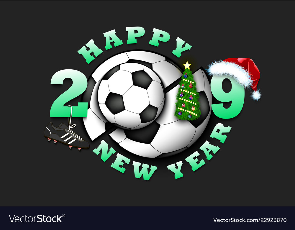 Happy New Year 2019 And Soccer Ball Royalty Free Vector