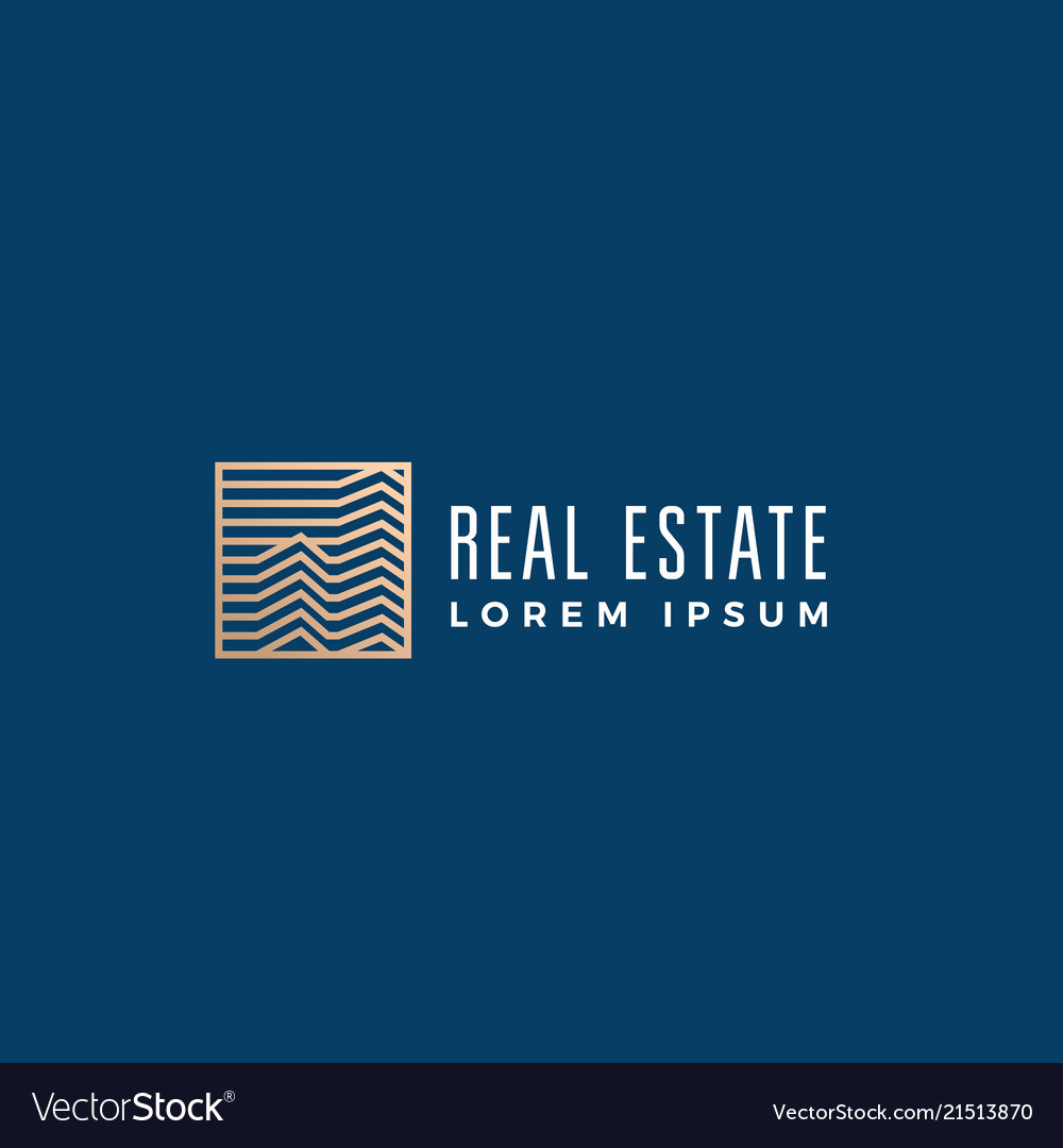 Linear real estate abstract sign symbol or