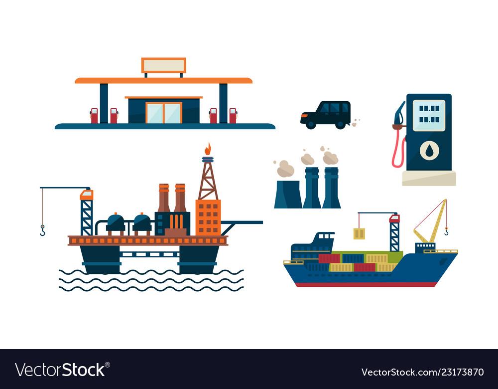Oil industry business concept flat vecroe design