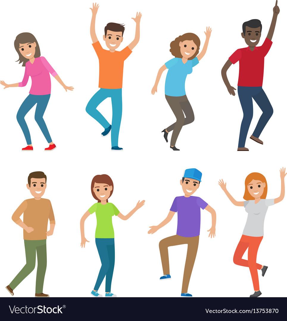 People dance big set of characters