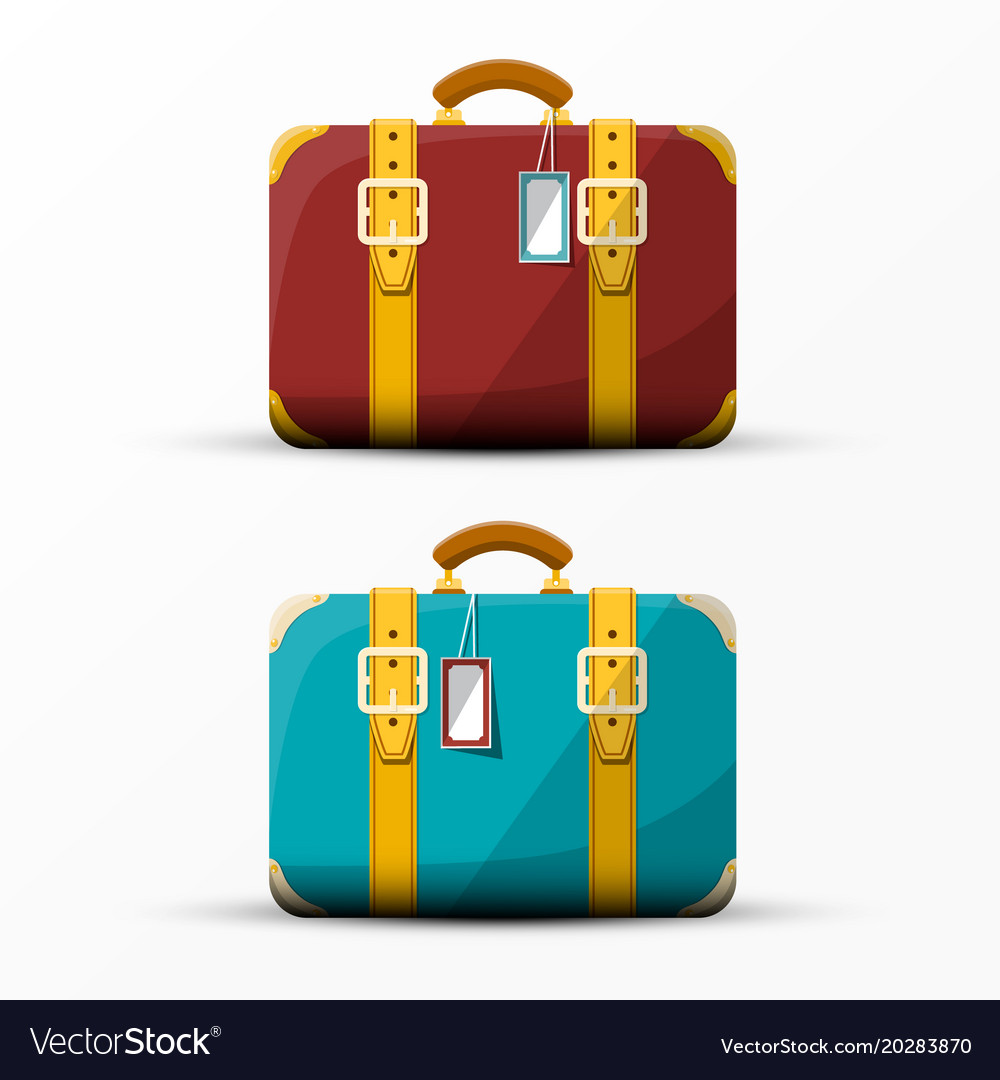 Retro suitcase vintage suitcases set isolated on