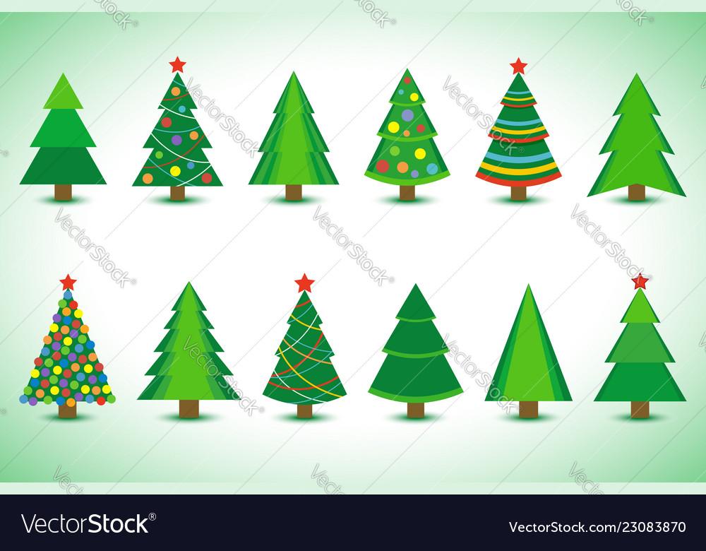 Set christmas tree isolated