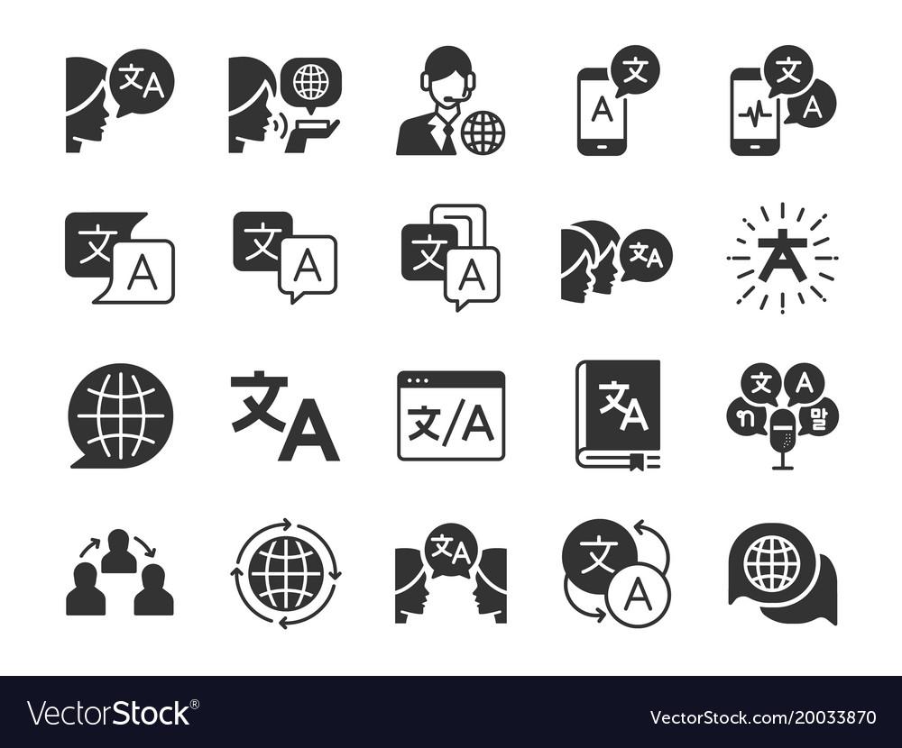 Translation icon set vector image