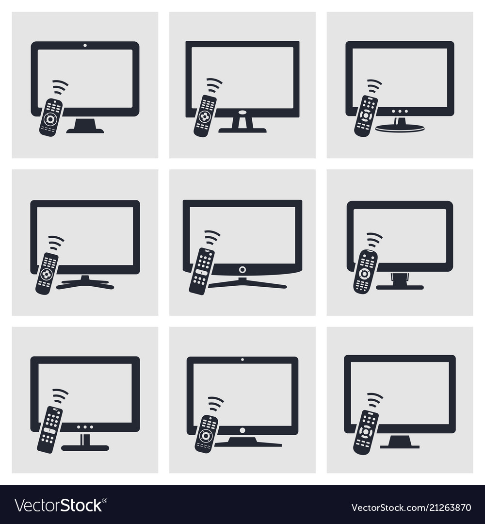 Tv with remote control icons set