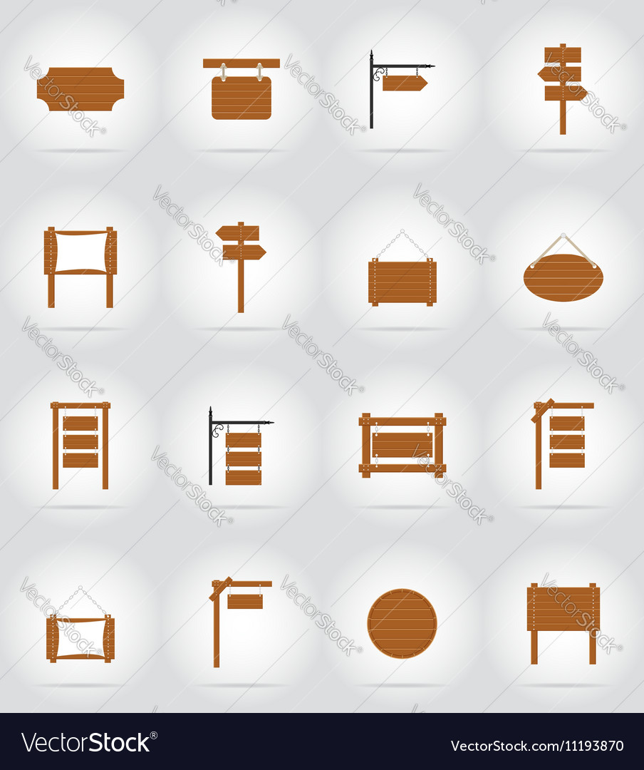 Wooden board flat icons 17 vector image