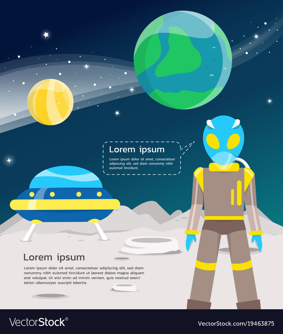 Alien with ufo traveling in universe including vector image
