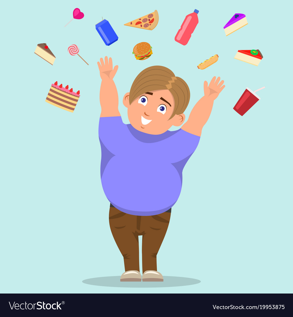 Cartoon fat boy catching sweets