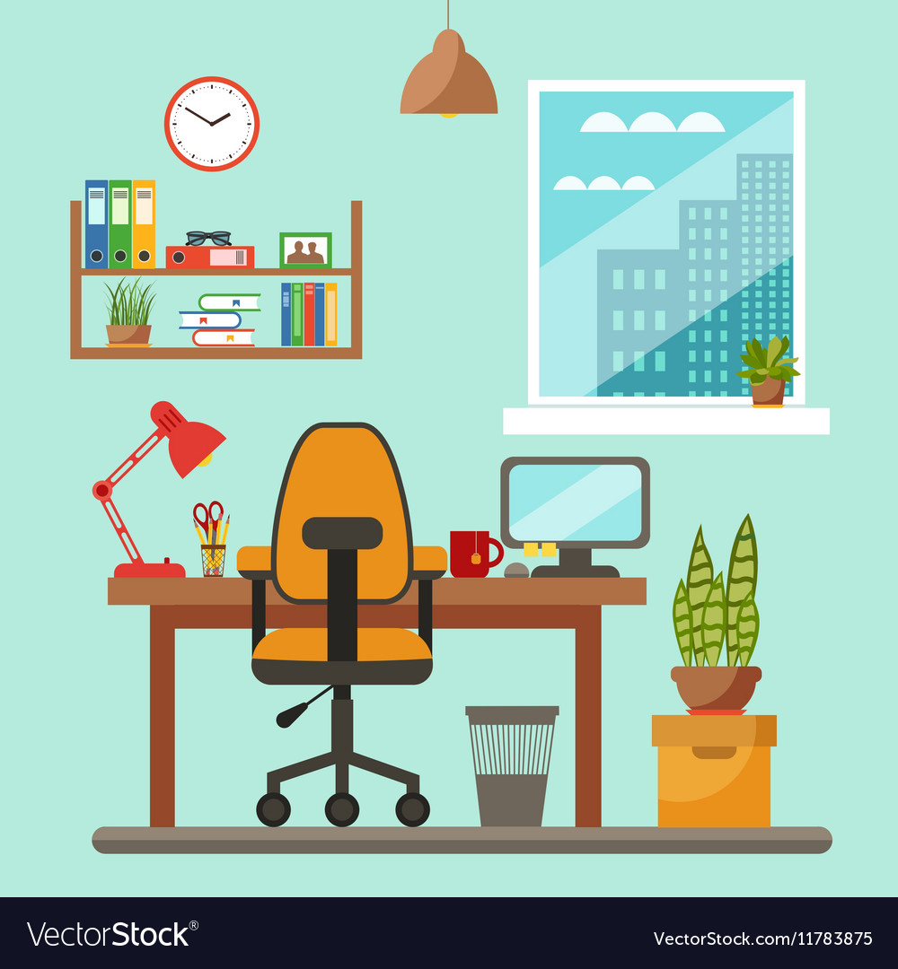 Exceptionnel Colorful Office Desk Closeup Concept Vector Image