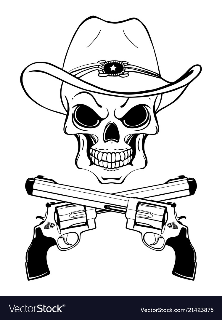 e4afb72c72e1a Cowboy skull in a western hat and a pair of Vector Image
