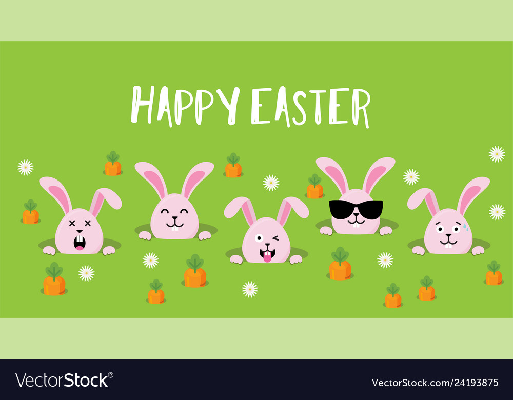 Cute easter bunnies happy easter sign