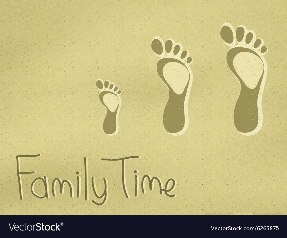 Family footprints on the sand vector image
