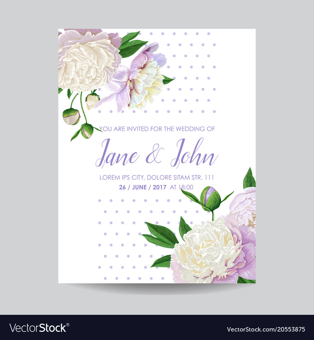 Floral wedding invitation white peony flowers vector image mightylinksfo
