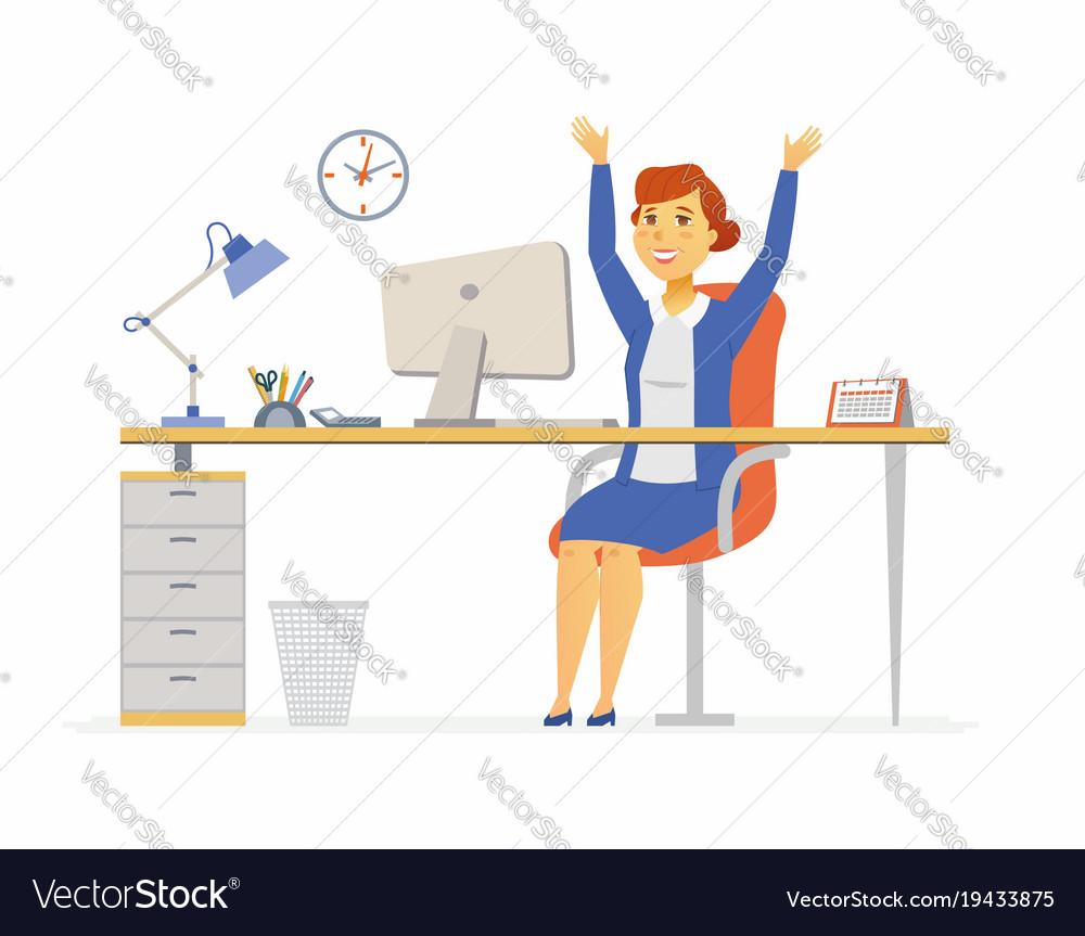 Happy Office Worker Modern Cartoon People Vector Image