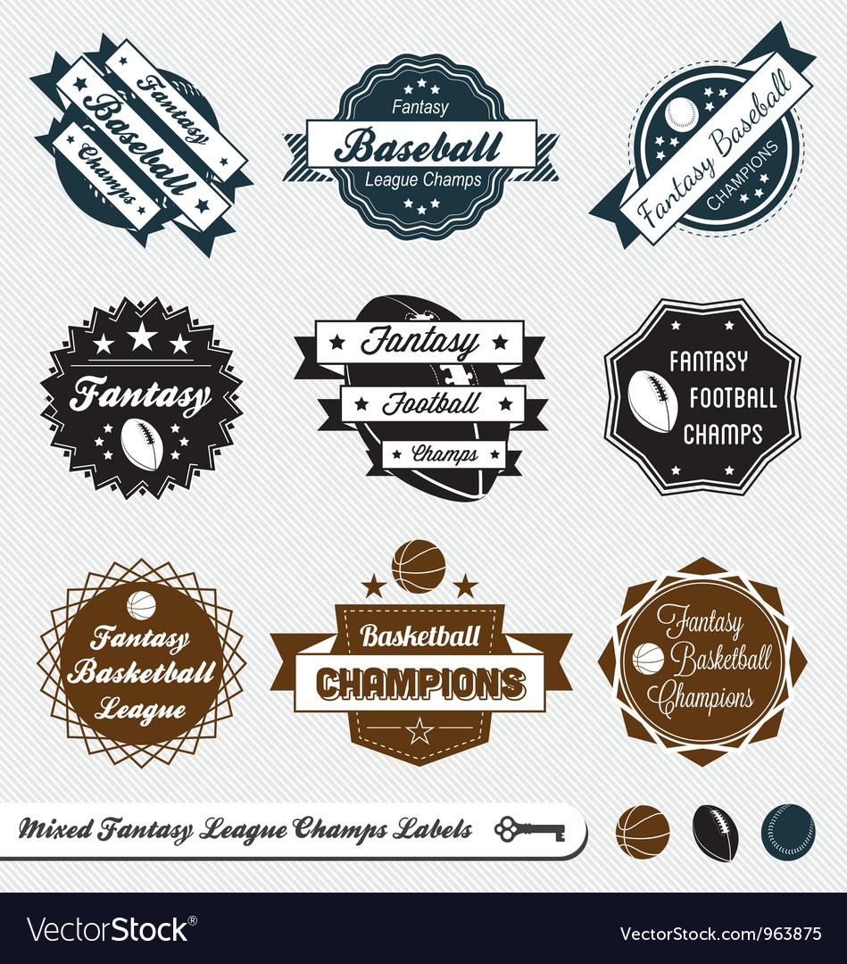Mixed Fantasy Sports Labels vector image