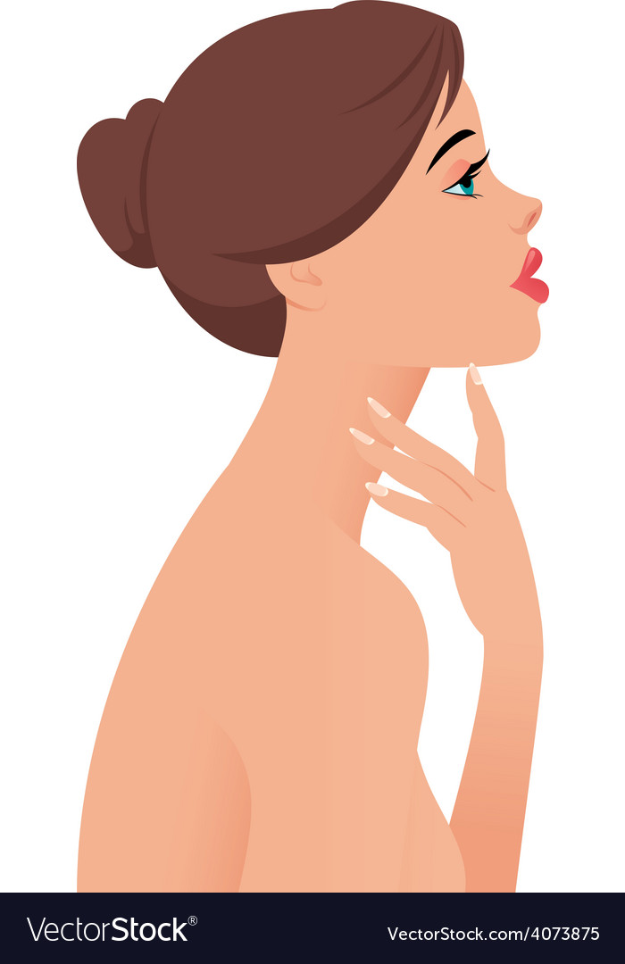 Portrait of the beautiful naked girl in profile vector image