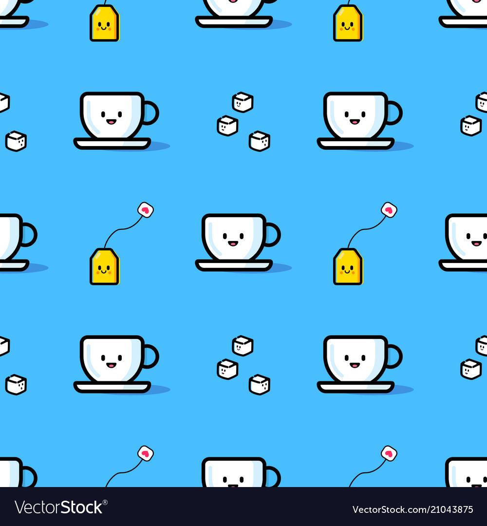 Seamless pattern from mug sugar and tea bag