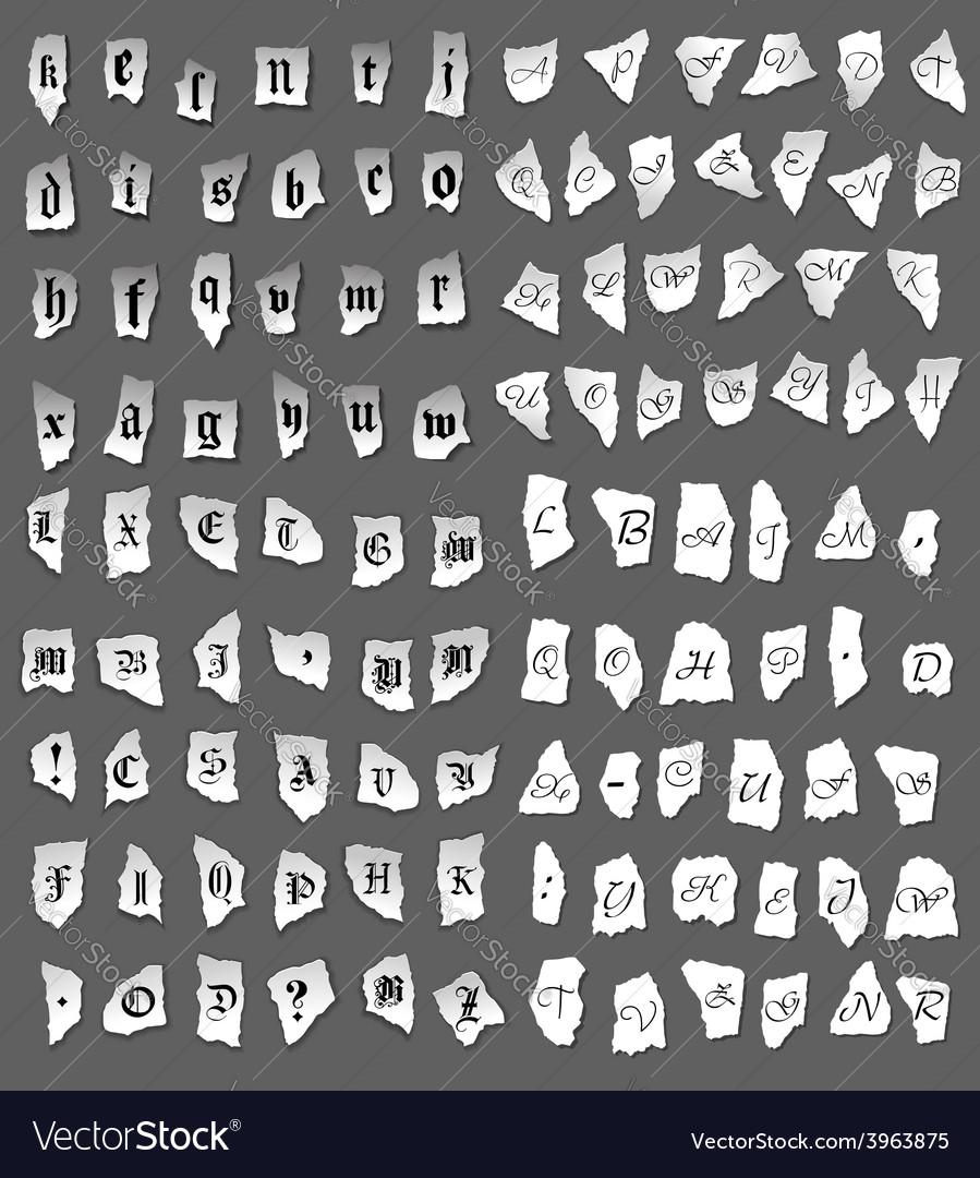 Vintage letters on turned paper