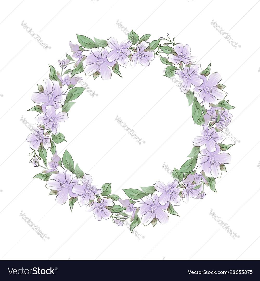 Watercolor tender wreath lilac flowers