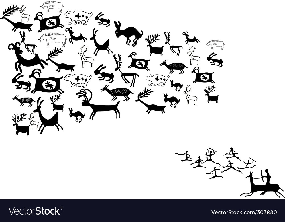 Ancient animal drawings vector image