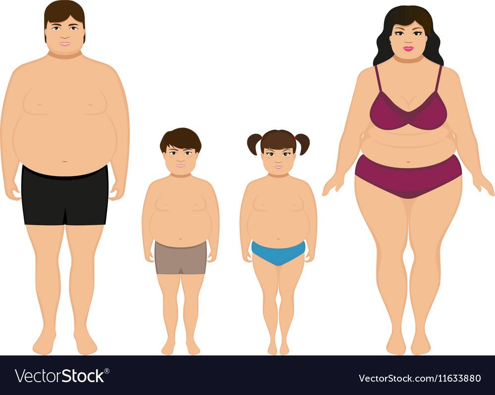 Cartoon happy fat overweight family vector image