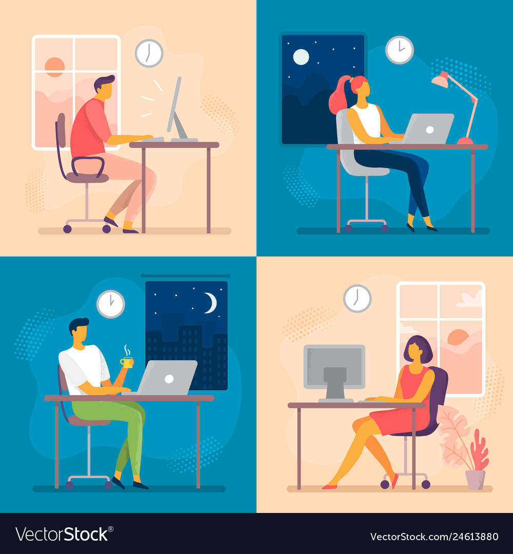Day or night work working late overtime office