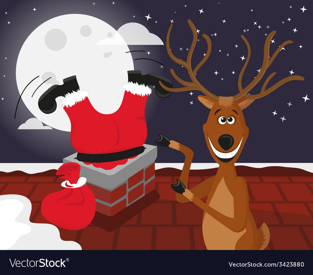Funny reindeer with santa on roof