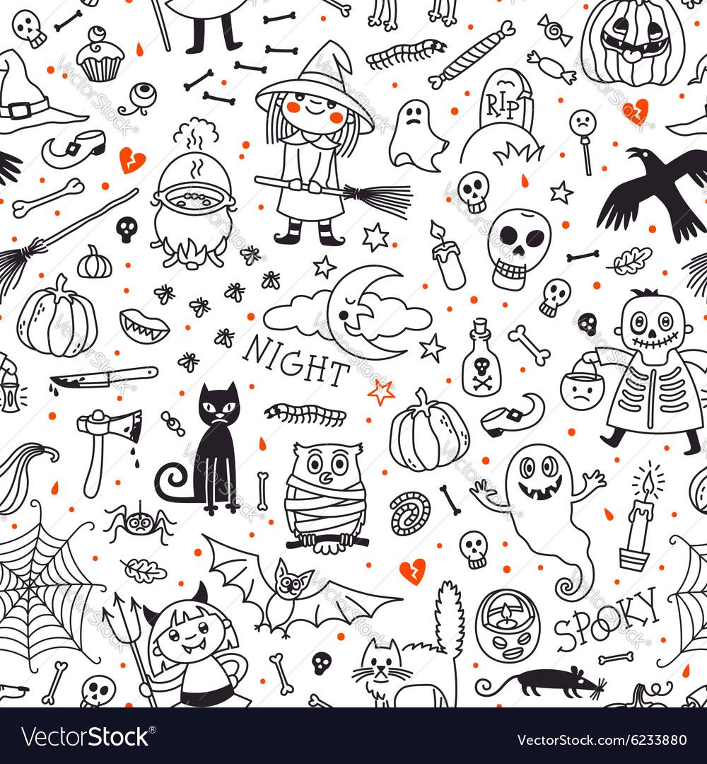 Halloween seamless pattern Pumpkin Ghosts Cats