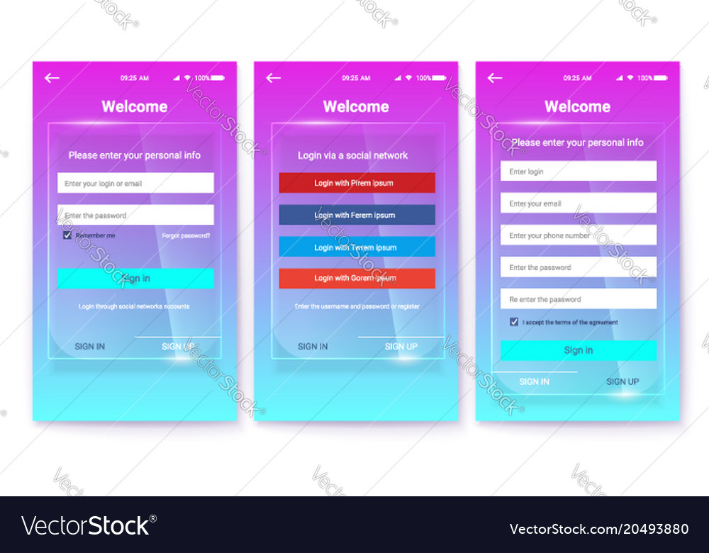 Kit of ux screen on glass background register or vector image
