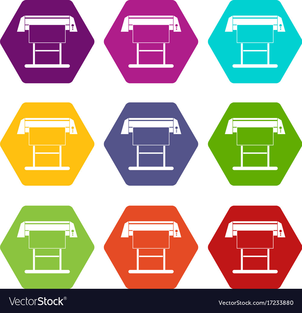 Large format inkjet printer icon set color vector image