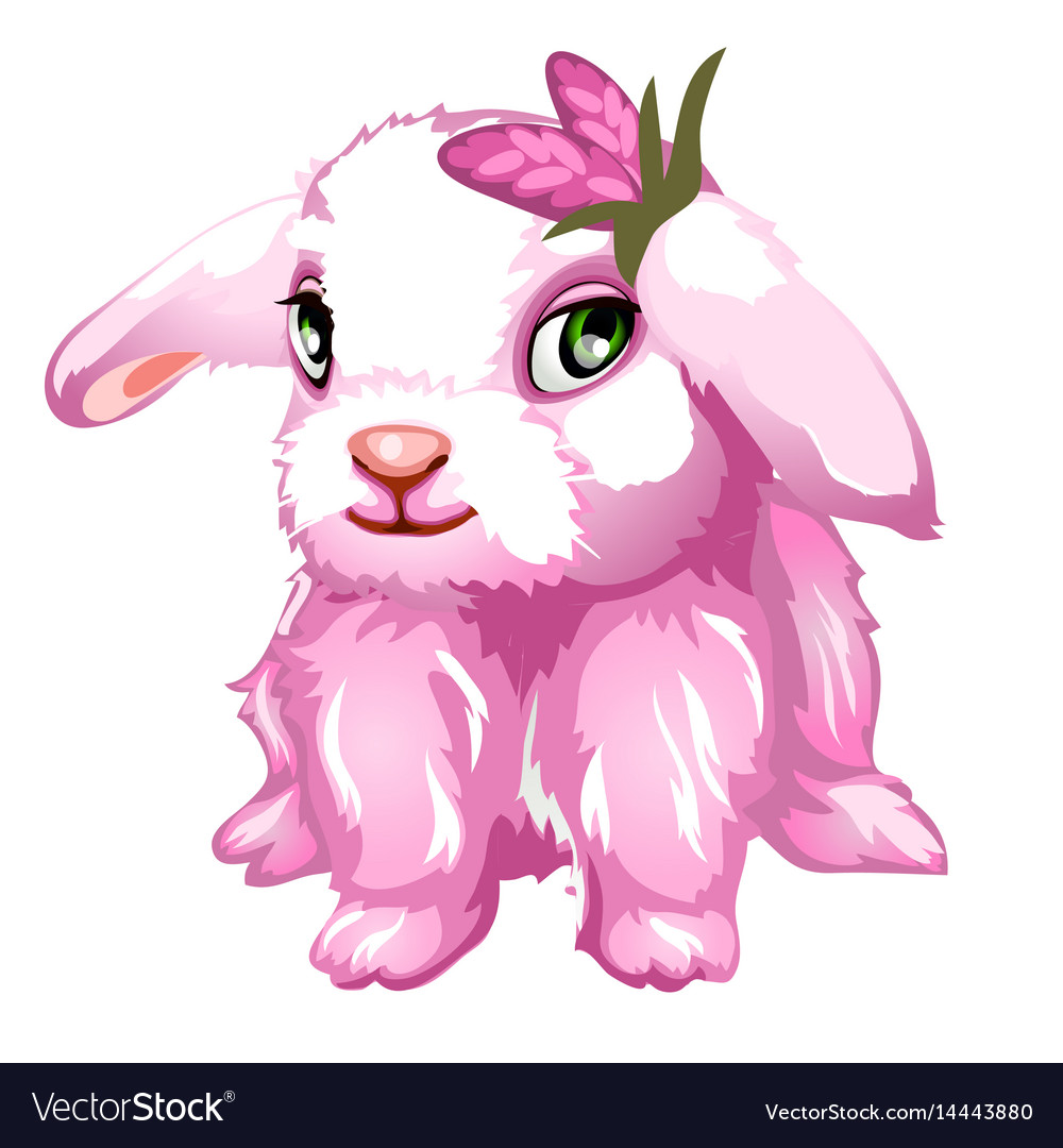 Pink fluffy bunny with green eyes isolated