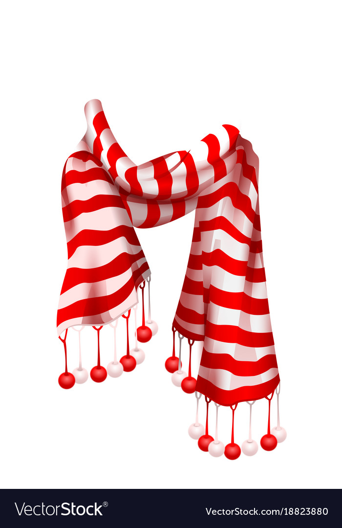 Christmas Scarf.Red Striped Santa Claus Scarf Christmas Accessory