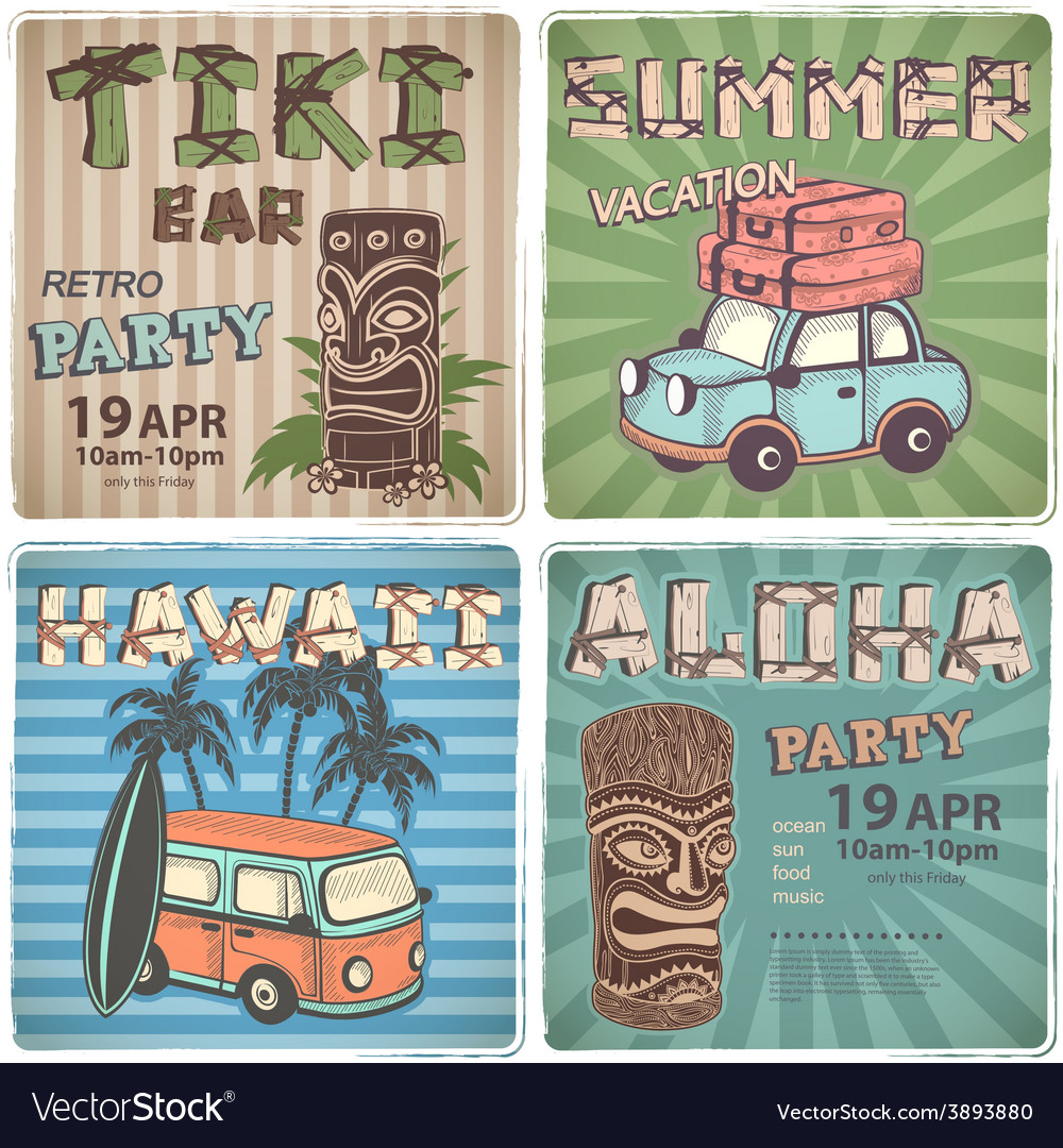 Set of Retro Hawaiian banners