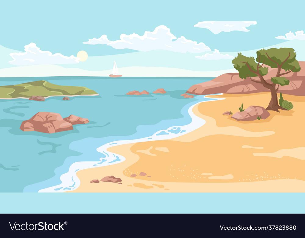 Summer beach sea or ocean sandy coastline tree