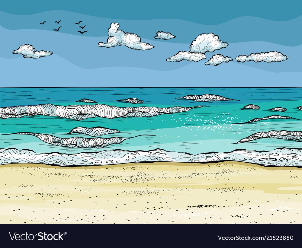 Waves splashed on sandy beach