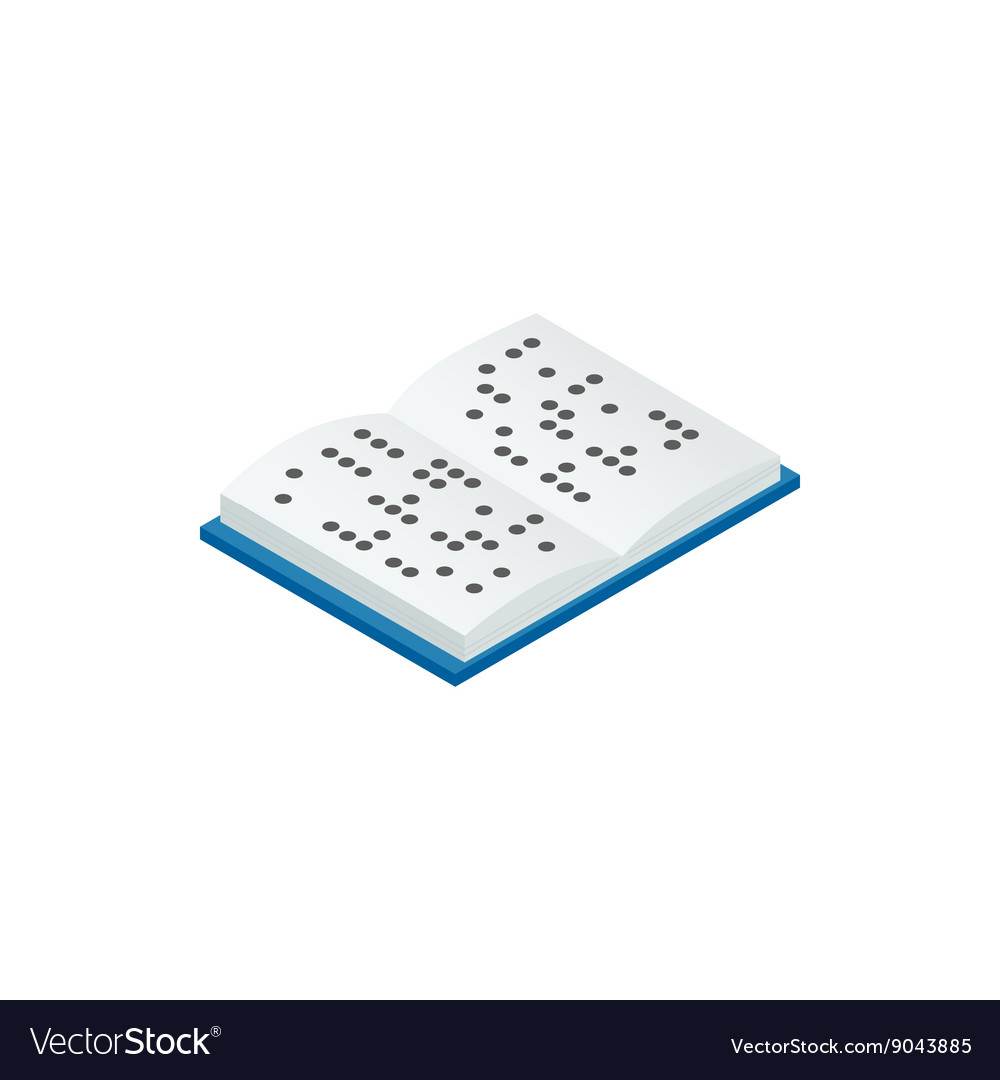 Book written in Braille icon isometric 3d style