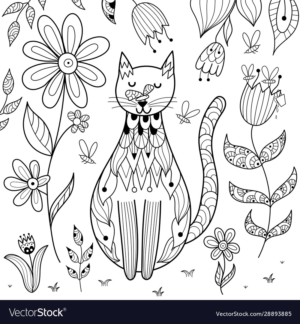 Butterfly sitting on cat nose funny coloring page