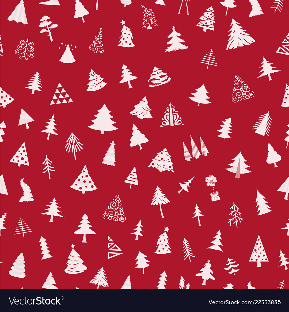 Christmas tree seamless pattern flat design