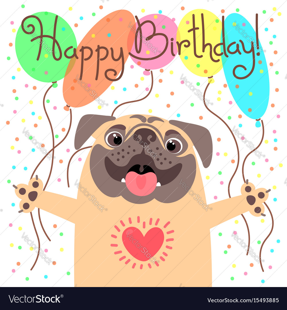 Cute Happy Birthday Card With Funny Puppy Loving