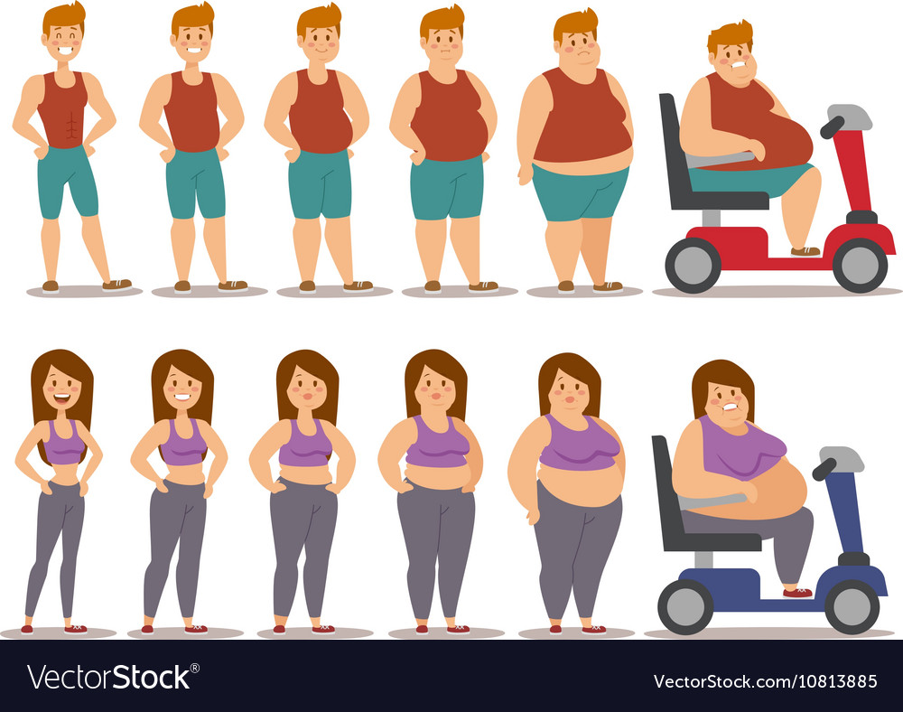 Fat cartoon people different stages