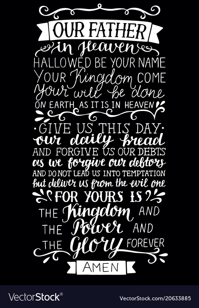 Hand lettering with bible verse prayer of the lord