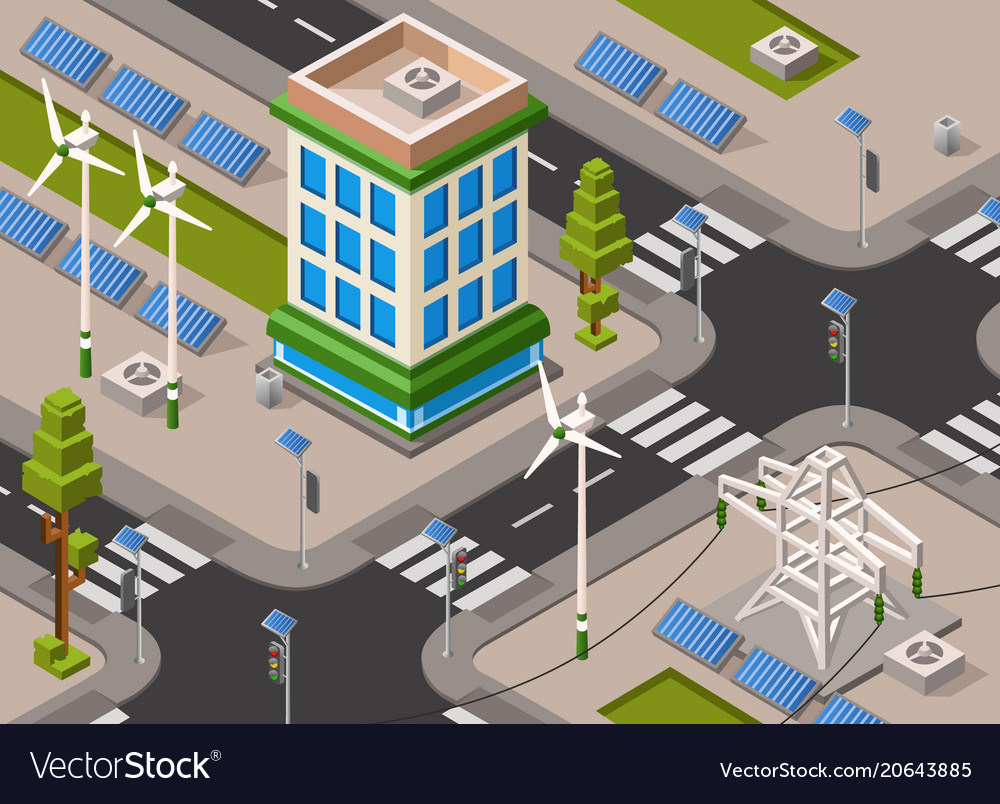Isometric solar wind energy city street