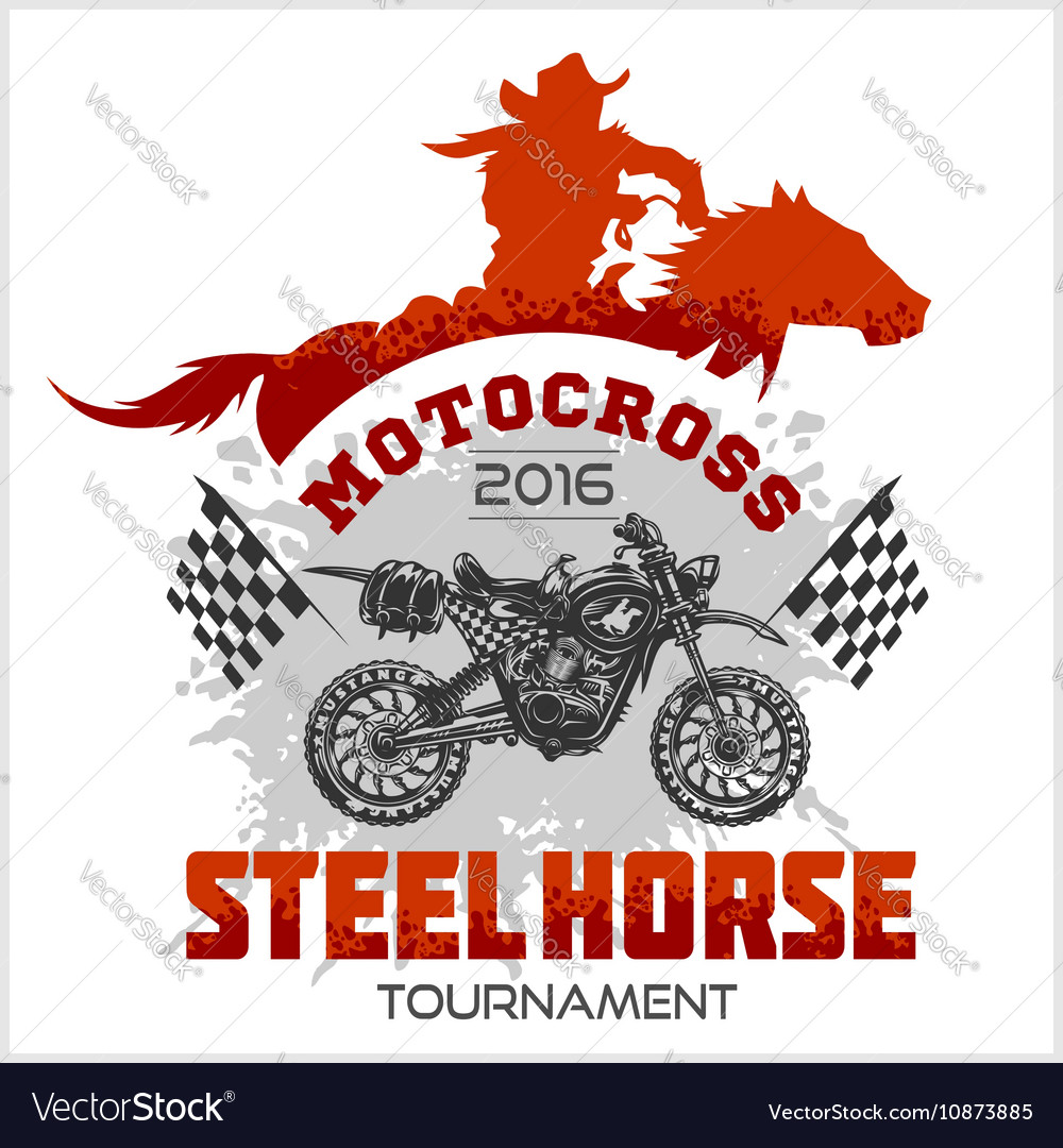 Motocross Tournament emblem - moto and horse for t
