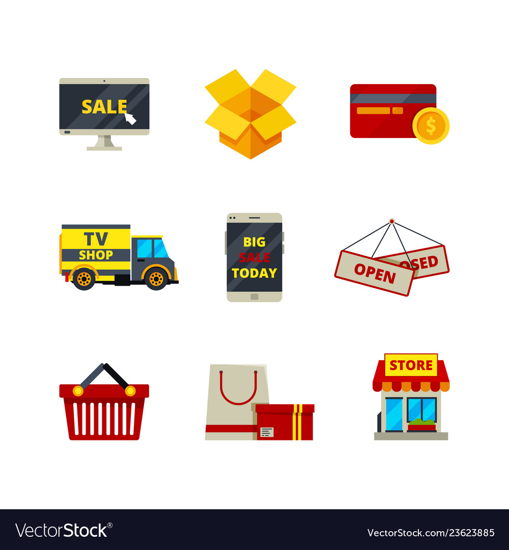 Online shopping icon web store payment cards