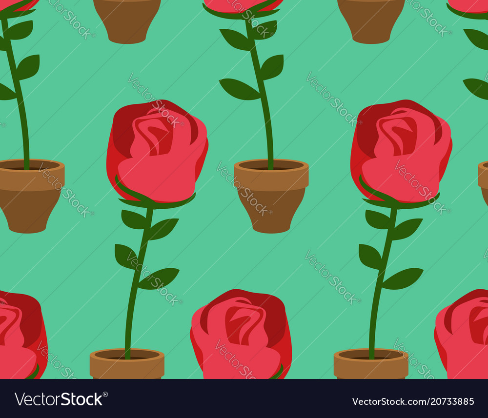Rose in pot seamless pattern home flower texture