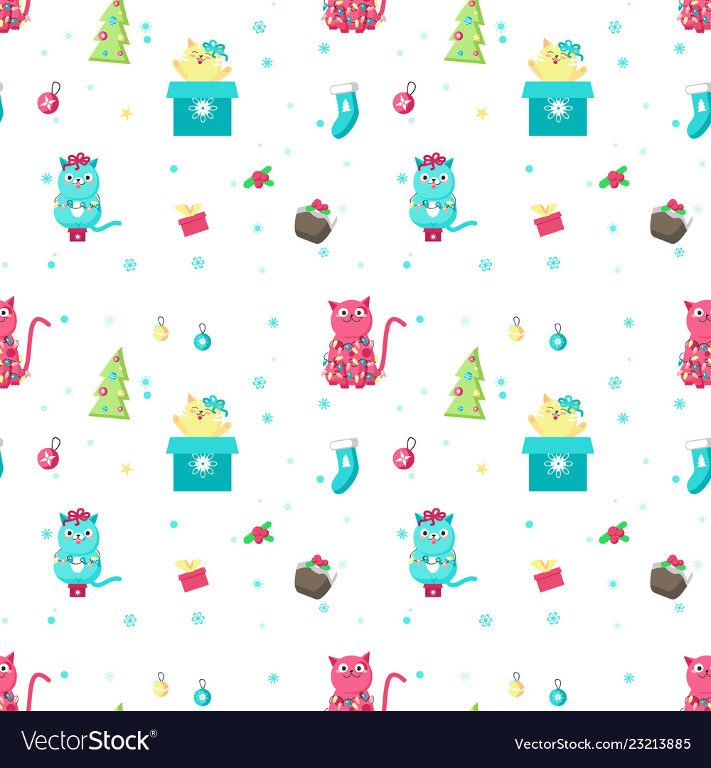 Seamless pattern with cute christmas cats