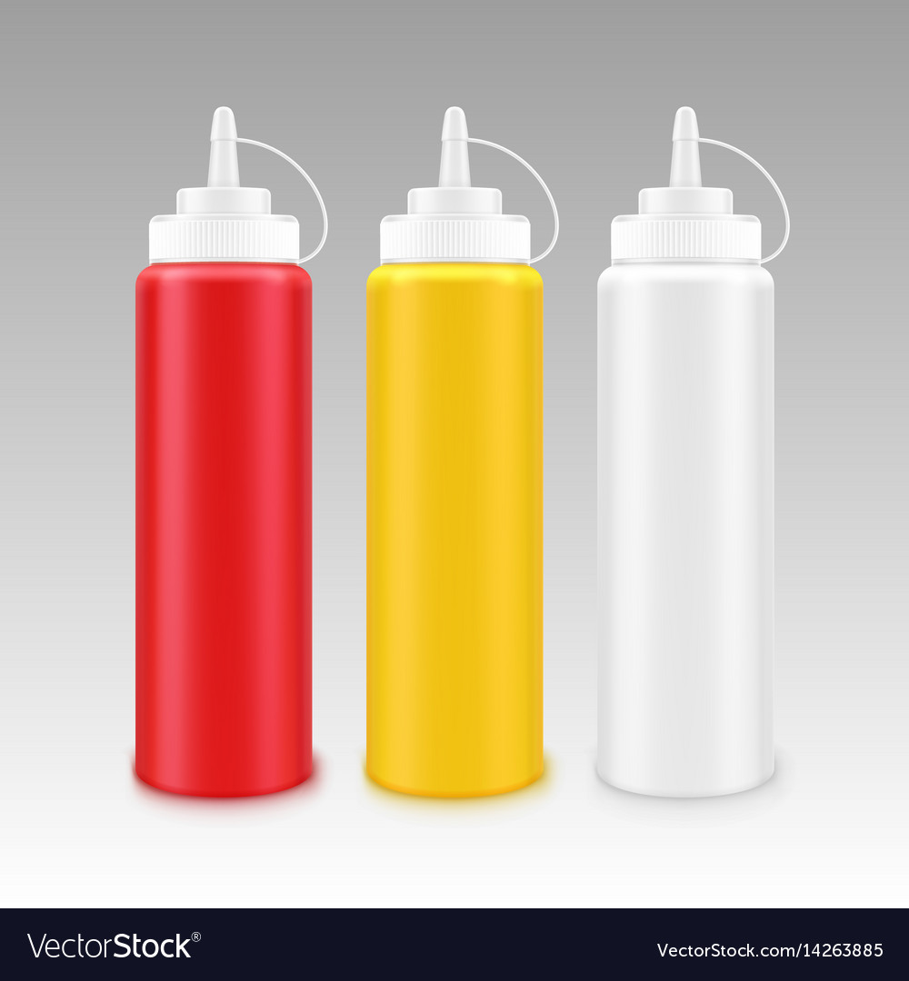 Set of plastic mayonnaise mustard ketchup bottle