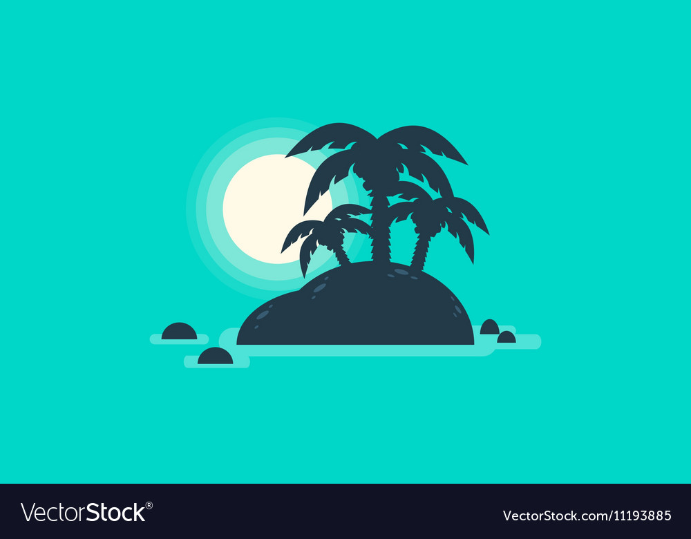 Silhouette of beautiful islands landscape