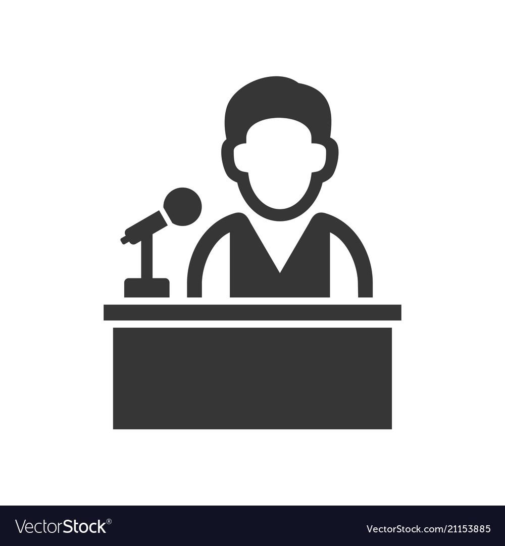 Speaker man on tribune icon