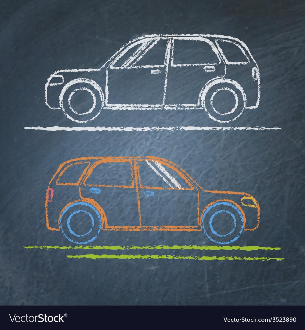 Car sketch on chalkboard Royalty Free Vector Image