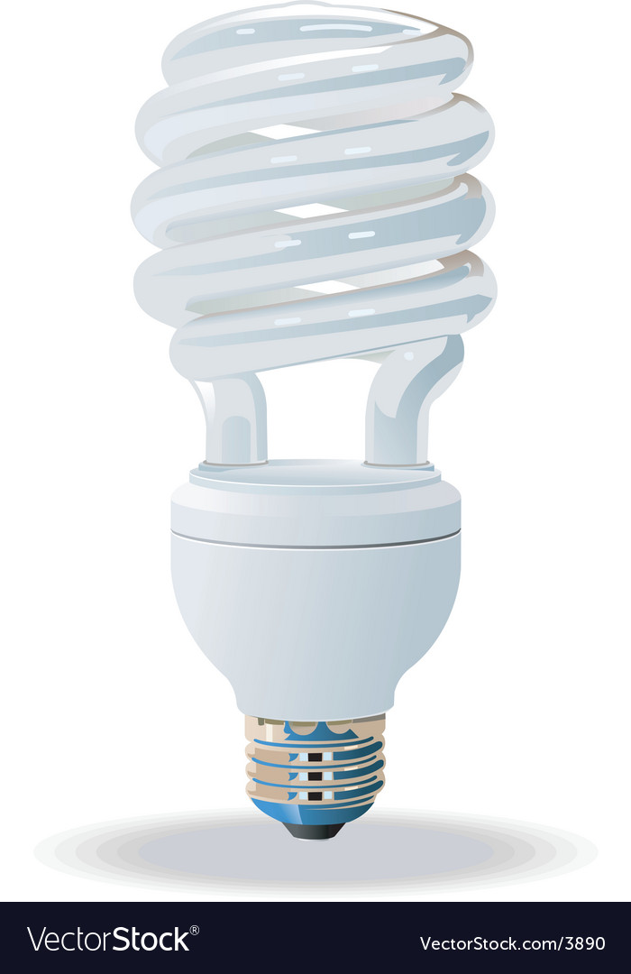 Compact fluorescent light bulb vector image